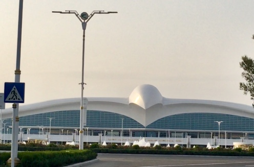 The airport in Ashgabat, Turkementistan is built as a giant falcon